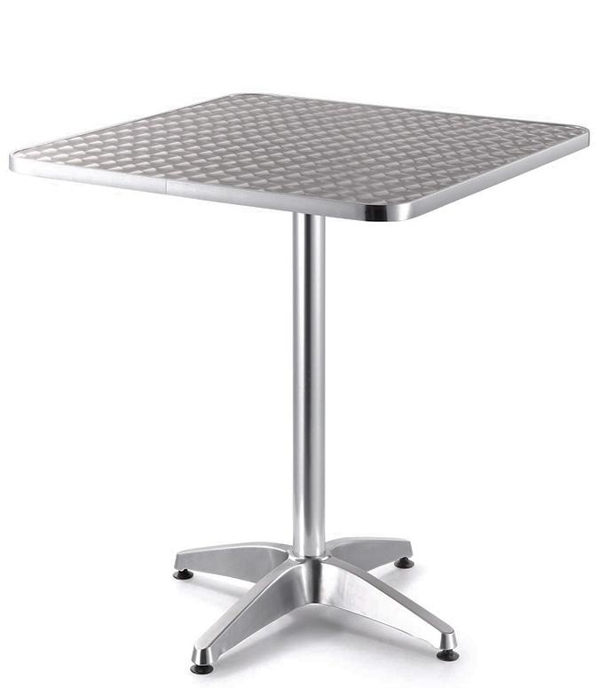 Mesa para comedor cuadrada de aluminio