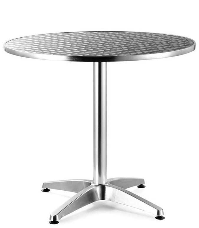 Mesa para comedor redonda de aluminio baja