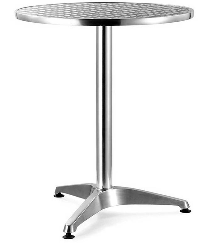 Mesa para comedor redonda de aluminio alta